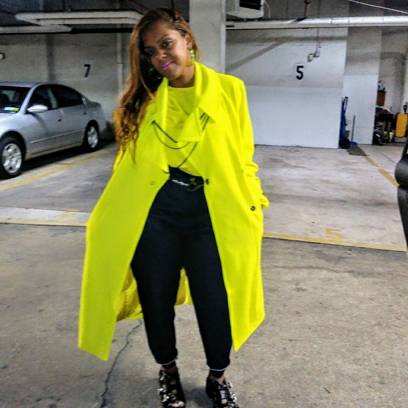 Jackets & Coats | Womens Coats Neon Yellow Belted Trench Coat | Poshmark